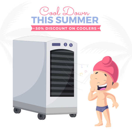 Cool down this summer discount on coolers banner design template. Vector graphic illustration.