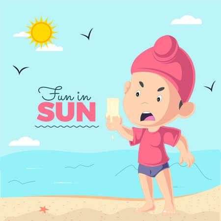 Fun in sun banner design with Punjabi kid ice cream is melting template. Vector graphic illustration. 矢量图像