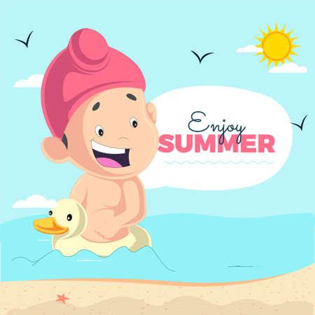 Enjoy summer banner design with Punjabi kid sitting on a duck. Vector graphic illustration.