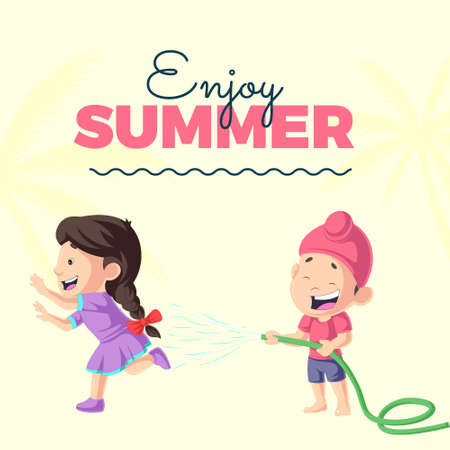 Enjoy summer banner design with boy and girl is playing with water. Vector graphic illustration.