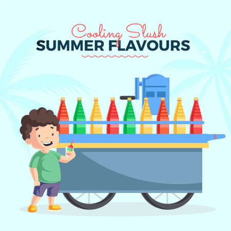 Cooling slash summer flavors banner design template. Vector graphic illustration. 矢量图像