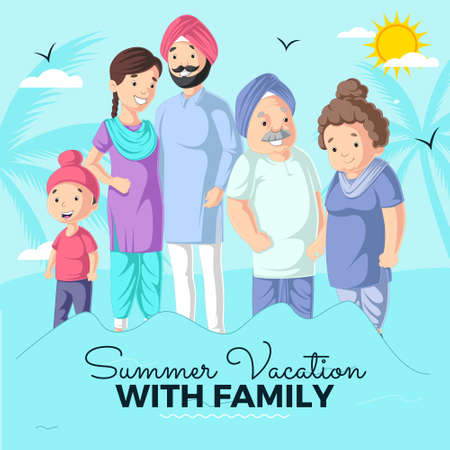 Summer vacation with family banner design template. Vector graphic illustration. 矢量图像