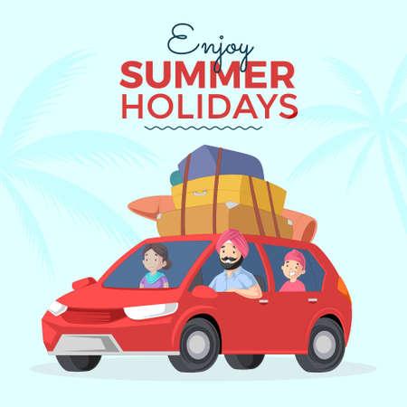 Enjoy summer holidays banner design template. Vector graphic illustration. 矢量图像