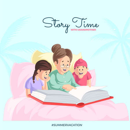 Story time with grandmother banner design template. Vector graphic illustration.