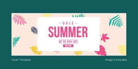 Sale summer cover page design. Vector graphic illustration. 矢量图像