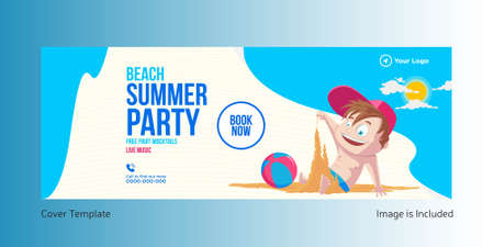 Beach summer party cover page template. Vector graphic illustration.