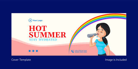 Hot summer stay hydrated cover page template design. Vector graphic illustration.