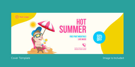 Hot summer cover page template design. Vector graphic illustration.
