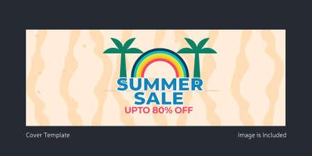 Summer sale cover page design. Vector graphic illustration. 矢量图像