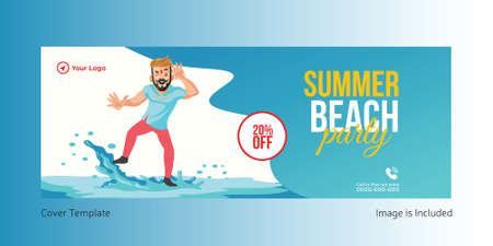 Summer beach party cover page design. Vector graphic illustration. 矢量图像