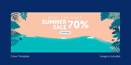 Beat the heat summer sale cover page design. Vector graphic illustration. 矢量图像