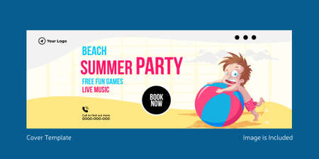 Beach summer party cover page design. Vector graphic illustration. 矢量图像