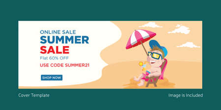 Online summer sale banner design template. Vector graphic illustration.