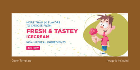 Fresh and tasty ice cream cover page design. Vector graphic illustration.