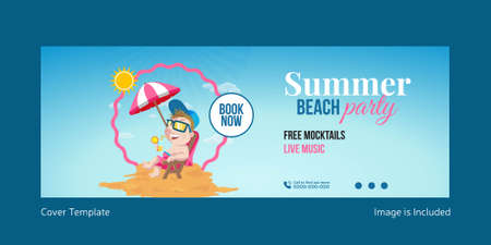 Summer beach party cover page template design. Vector graphic illustration. 矢量图像