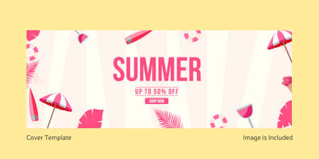 Summer sale cover page template. Vector graphic illustration.