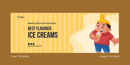 Best flavored ice creams cover page design. Vector graphic illustration. 矢量图像