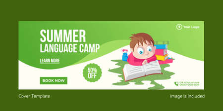 Summer language camp cover page design. Vector graphic illustration.