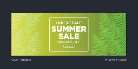 Online sale summer sale cover page design. Vector graphic illustration.