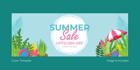 Summer sale cover template design. Vector graphic illustration. 矢量图像