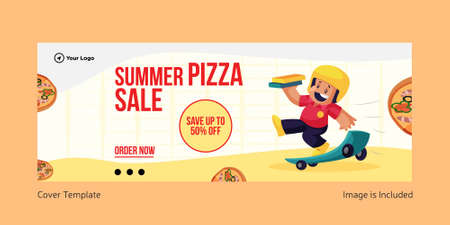 Summer pizza sale cover page design. Vector graphic illustration.