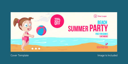 Beach summer party cover page template design. Vector graphic illustration.
