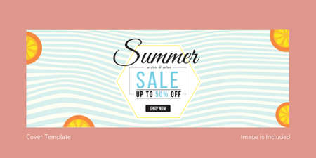 Summer sale cover page template design. Vector graphic illustration.