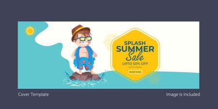 Splash summer sale cover page design. Vector graphic illustration.
