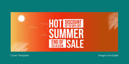 Hot summer sale cover page template design. Vector graphic illustration.