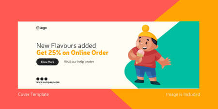 Cover page of ice cream new flavors added. Vector graphic illustration. 矢量图像