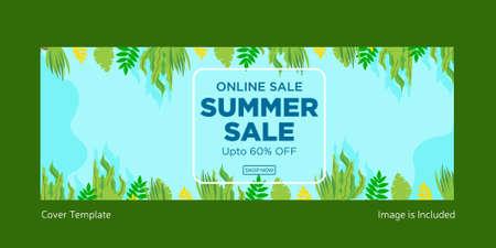 Online summer sale cover page design. Vector graphic illustration. 矢量图像