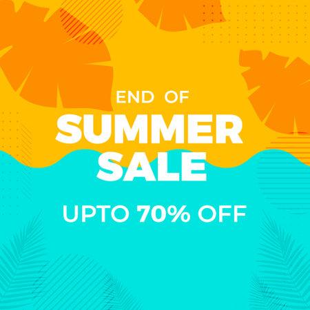 End Of Summer Sale banner design template. Vector graphic illustration.