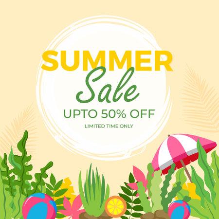 Summer Sale banner design template. Vector graphic illustration.