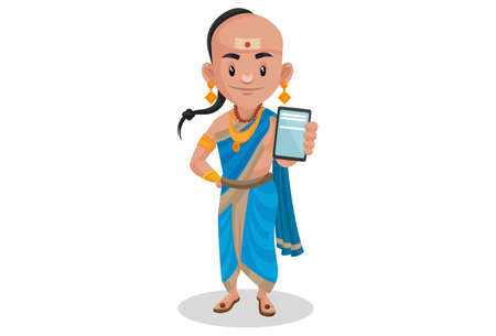 Tenali Ramakrishna is showing a mobile phone. Vector graphic illustration. Individually on a white background. Vetores