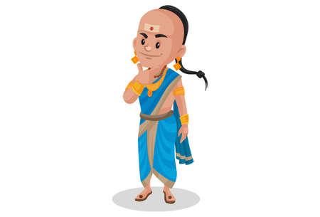 Tenali Ramakrishna is thinking something. Vector graphic illustration. Individually on a white background.