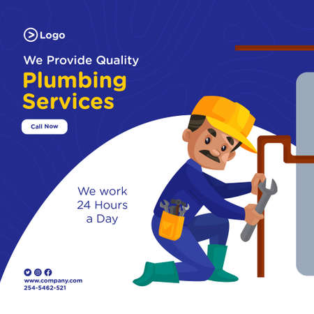 Plumbing services banner design for social media. Plumber is repairing the water pipe. Vector graphic illustration.