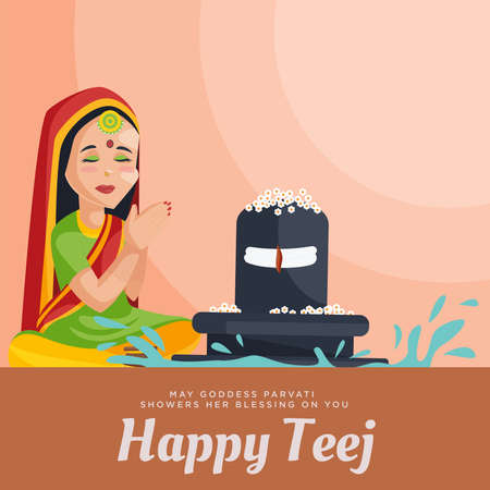 Creative happy teej banner design template.