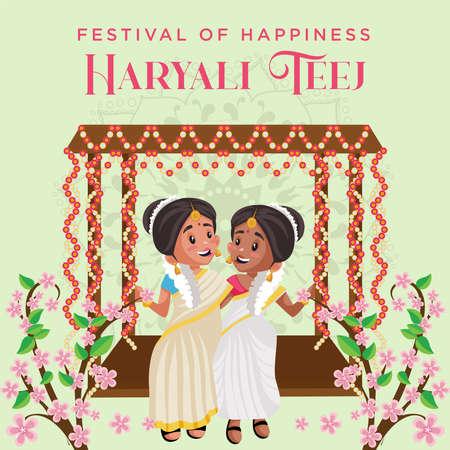 Festival of happiness haryali teej banner design template.