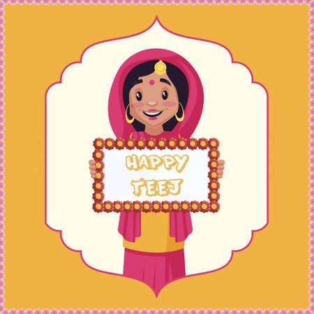 Happy Teej banner design template.