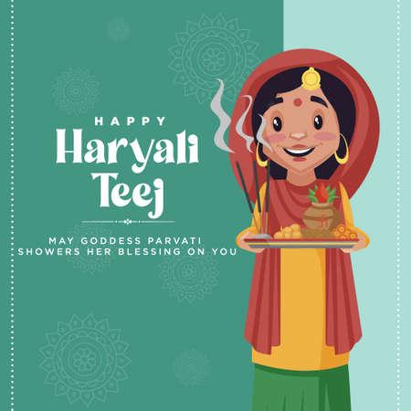 Creative happy haryali teej banner design template.