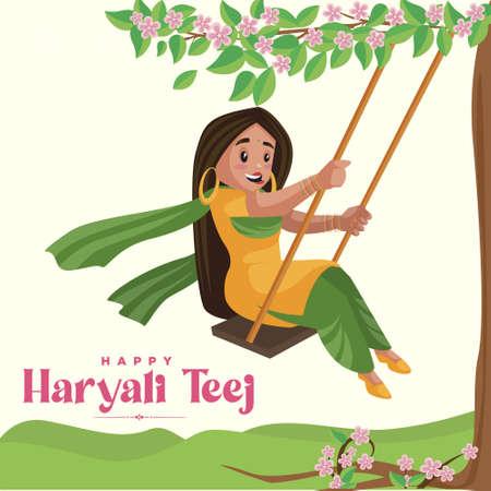 Indian festival Haryali teej banner design template.