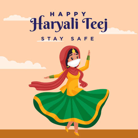 Happy Haryali teej stay safe banner design template.