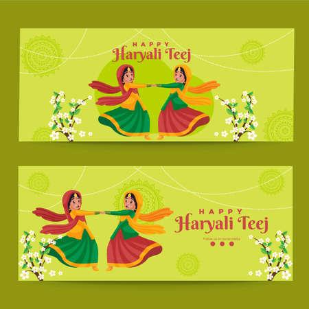 Banner design of happy haryali  teej template.