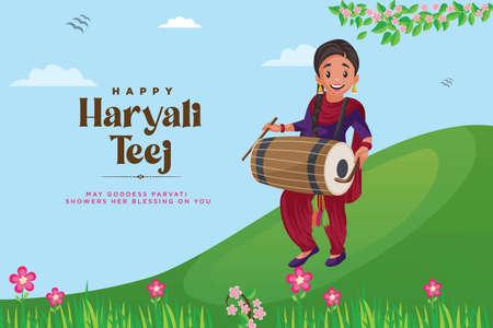 Banner design of indian festival happy haryali teej template. 矢量图像