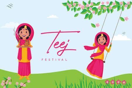 Banner design of happy haryali teej festival template.