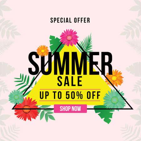 Banner design of special offer summer sale template.