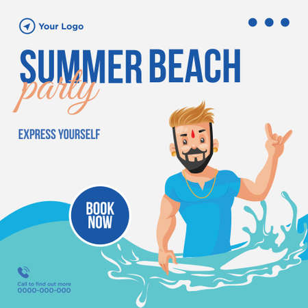 Summer beach party banner design template.