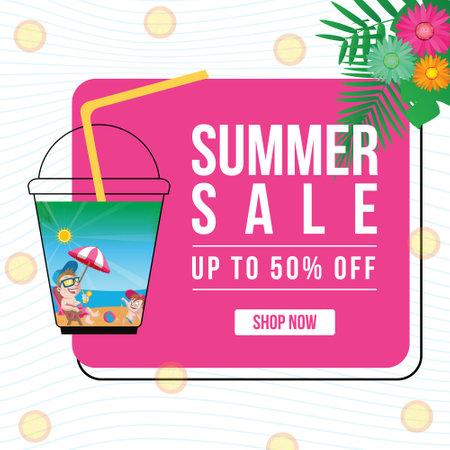 Summer sale banner design template. 矢量图像