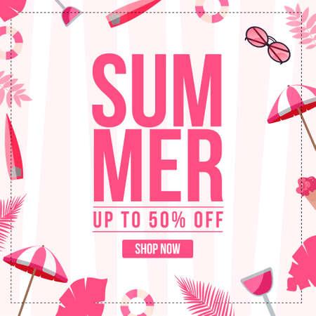 Banner design of summer sale template. 矢量图像