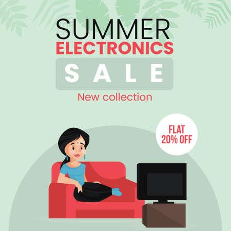 Banner design of summer electronics sale template.
